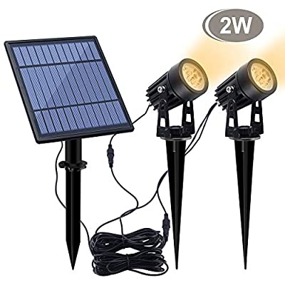 APONUO Led Solar Spotlights 2W Led Solar Powered Landscape Lights Low Voltage IP65 Waterproof 16.4ft Cable Auto On/Off with 2 Warm White for Outdoor Garden Yard Landscape Downlight