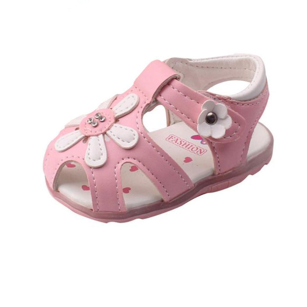 3d13235f75d Sandalias Niña Verano K-Youth® Zapatos Niña Sandalias para Niña Chica  Zapatillas Planas Zapatos Princesa con Led Luz Sandalias Huecos de Flores de  Bebés ...