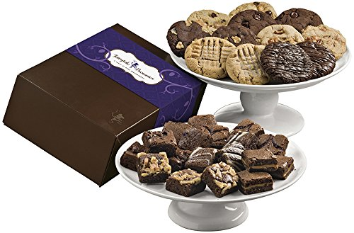 Fairytale Brownies Deluxe Cookie & Magic Morsel Combo Gourmet Food Gift Basket Chocolate Box - 1.5 Inch x 1.5 Inch Bite-Size Brownies and 3.25 Inch Cookies - 30 Pieces