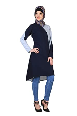 00b3c28f9f0 Image Unavailable. Image not available for. Color  Women Modest Loose Fit Long  Sleeve Casual Ethnic Style Printed Tunics Shirts ...