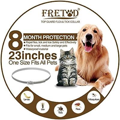 FRETOD Collares Antiparasitario para Perros y Gatos – 65cm Collares Antipulgas y Garrapatas para Perros Pequeño Mediano Grandes