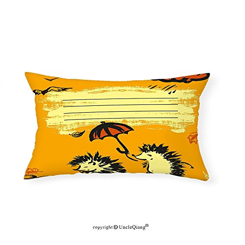 VROSELV Custom pillowcasesFun Notebook Cover Design Two Hedgehogs with an Umbrella Rainy Weather Cloud for Bedroom Living Room Dorm Yellow Dark Orange Black(14''x24'') by VROSELV