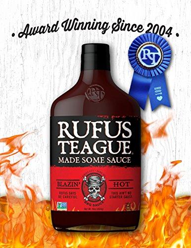 - Rufus Teague BLAZIN' HOT BBQ SAUCE - 16oz Bottle - Very SPICY! World Famous Kansas City BBQ - Thick & Rich made with Premium Ingredients - Gluten-Free, Kosher & Non-GMO