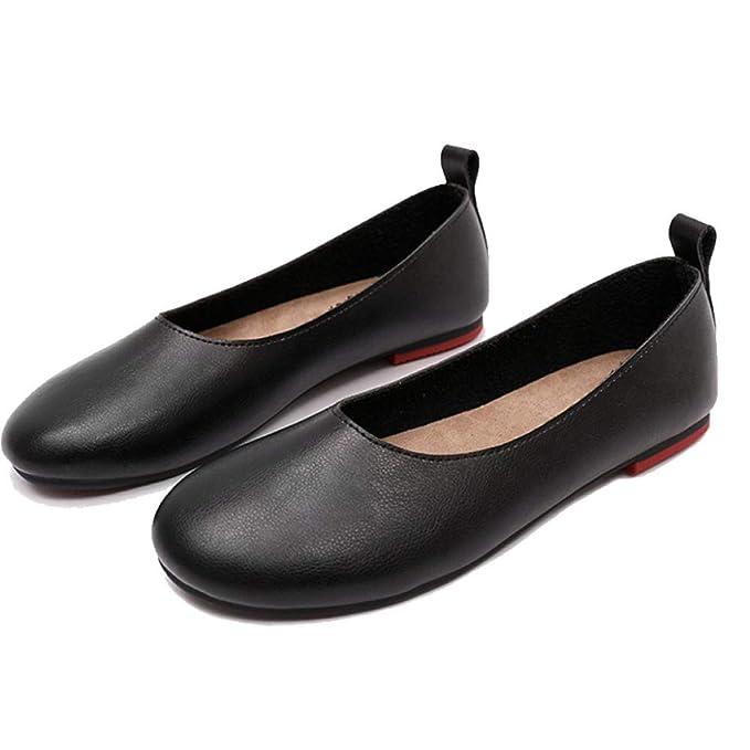 Zapatos De Trabajo Bailarinas De Mujer Pu Zapatos Planos Casuales Mocasines Zapatos De Guisantes: Amazon.es: Ropa y accesorios