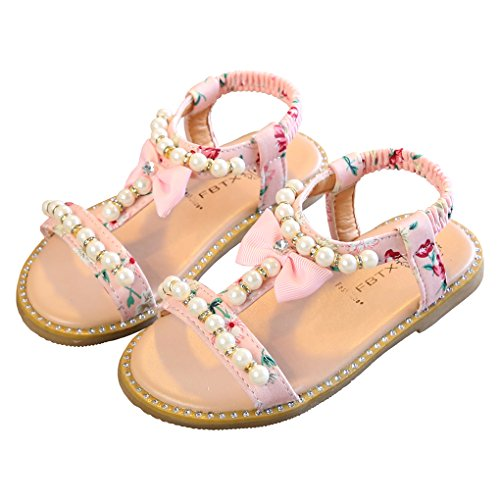 Toddler Girls Pearls T-Straps Flip Flops Beach Sandals Princess Flat Shoes with Bowknot Pink Size 7M ()