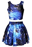 Pink Queen Galaxy Print Crop Tank Top/Pleated Skater Skirts Set For Women