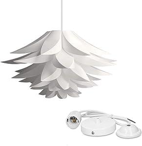 kwmobile Lámpara de puzzle colgante DIY - Iluminación de techo con diseño decorativo de flor de loto - 90CM de cable con toma E27 en color blanco