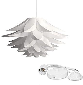 kwmobile Lámpara de puzzle colgante DIY - Iluminación de techo con diseño decorativo de flor de loto - 90CM de cable con toma E27 en color blanco: Amazon.es: Iluminación