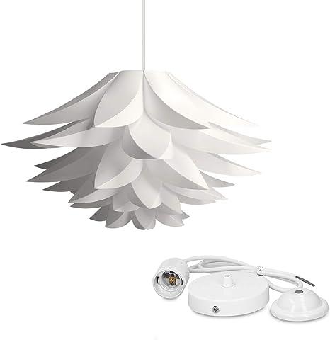 kwmobile Lampadario DIY puzzle fiore di loto Paralume per lampada a sospensione con set fissaggio al soffitto portalampada E27 cavo 90cm bianco