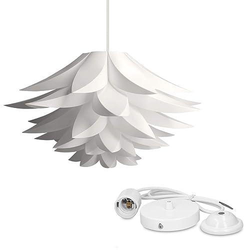 kwmobile Lampe puzzle design lotus - Abat-jour XL à monter - Luminaire IQ plafond - Ensemble avec montage plafonnier câble 90cm douille E27-50 pcs