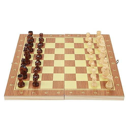 Juego de Piezas de Ajedrez, Juego de Tablero de Ajedrez Chess Set Tallado a Mano de Madera Tablero de Ajedrez Protable...
