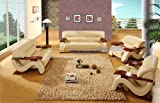 Modern Beige Leather and Mahogany Wood Living Room Set w/ 2 Plush Leather Chairs
