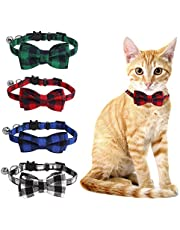 SLSON 4 Pack Cat Collars Breakaway with Bell Plaid Cat Collars with Cute Bow Tie for Pet Kitten Cats Adjustable from 8-11In, Black, Blue, Red and Green