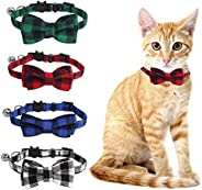 SLSON 4 Pack Cat Collars Breakaway with Bell Plaid Cat Collars with Cute Bow Tie for Pet Kitten Cats Adjustabl