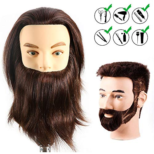 - HAIREALM Male Mannequin Head With 100% Human Hair Cosmetology Doll Head for Hair Styling (Table Clamp Stand Included) HF0408S