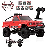 VOVI Jeep Epic Truck RC Car Toy for Kids Ford Raptor F-150 Red with RGT 1:24 Car 2.4G 4WD 15KM/H RC Crawler Monster Truck Rock Buggy HSP Toy Gift for Children