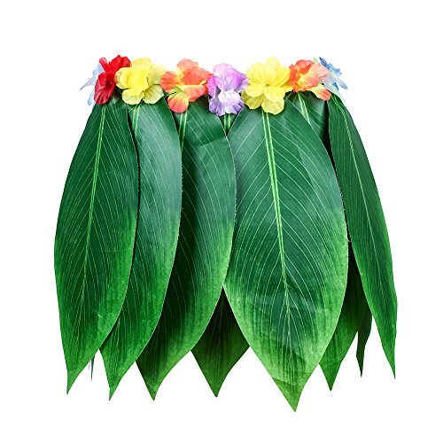 Warmmie Hula Skirt Hawaiian Leaf Skirt Green Grass Skirt with Artificial Hibiscus Flowers for Beach,Luau Party Supplies by (26.77