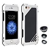 "AENMIL iPhone 5/5G/5S/SE 4"" Case, 3-in-1 Water + Shock + Dust Proof with Wide Angle Macro Fisheye Lens and Tempered Glass Screen Protector, Silicone + Aluminum Bumper Cover - Sliver"