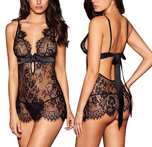AnloveKiss Women Sexy Lingerie Black Eyelash Lace Chemise Babydoll Nightwear  (M, Black)  (Backless Teddy)