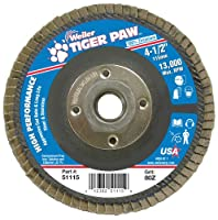 "Weiler 51115 Tiger Paw High Performance Abrasive Flap Disc, Type 27 Flat Style, Phenolic Backing, Zirconia Alumina, 4-1/2"" Diameter, 5/8""-11 Arbor, 80 Grit, 13000 RPM (Pack of 10)"
