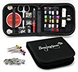 Image of Compact Sewing Kit for Home, Travel, Camping & Emergency. Best Gift for Kids, Girls, Beginners & Adults. Quality Premium Sew Supplies Set. Expansive Case with 100 Extra Pins & Safety Pins