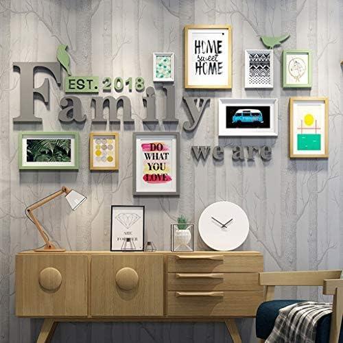 美しい背景壁装飾フォトフレーム家族コラージュ無垢材の組み合わせリビングルーム写真壁創造的なレストラン(色:B) よくできた