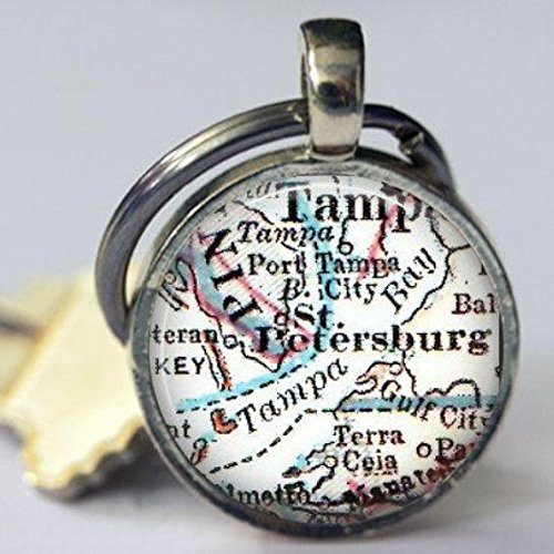 st Petersburg Florida Map Keychain Gift for her, Daughter Gifts, Personalized Key Chains for Men, Cool Keychains, Office Gift, co-Workers (Office St Petersburg Tag)