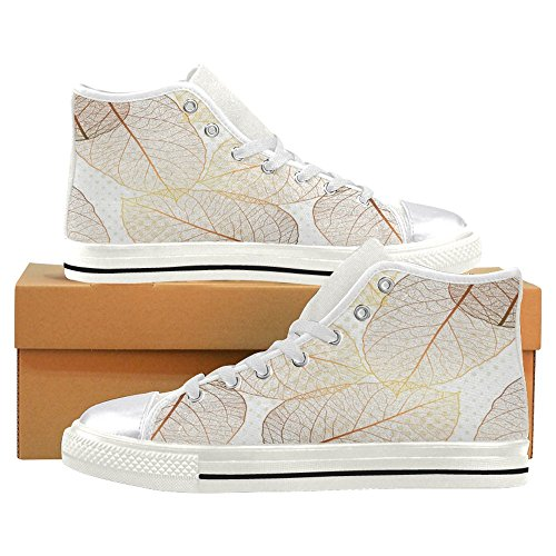 InterestPrint Women Canvas Shoes High Top Trainers Flat Shoes Lace Up Sneakers Fashion Form Yellow Autumn Leaves White nZp9Q