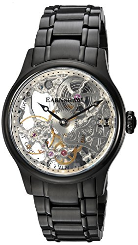 Thomas Earnshaw Men's 'Bauer Mechanical Skeleton' Mechanical Hand Wind Stainless Steel Dress Watch, Color:Black (Model: ES-8049-44)