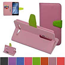 ASUS ZenFone 2 5.5 ZE550ML/ZE551ML Case,Mama Mouth [Stand View] Premium PU Leather [Wallet Case] With Built-in Media Stand ID Credit Card / Cash Slots and Inner Pocket Cover Case For ASUS ZenFone 2 5.5 inch ZE550ML ZE551ML, Pink