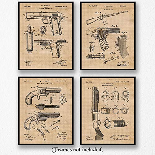 Original Remington Guns Patent Art Poster Prints - Set of 4 (Four Photos) 8x10 Unframed - Great Wall Art Decor Gift for Home, Office, Studio, Garage, Man Cave, Student, NRA Fan, Collector, Owner, Shop from Stars Arts