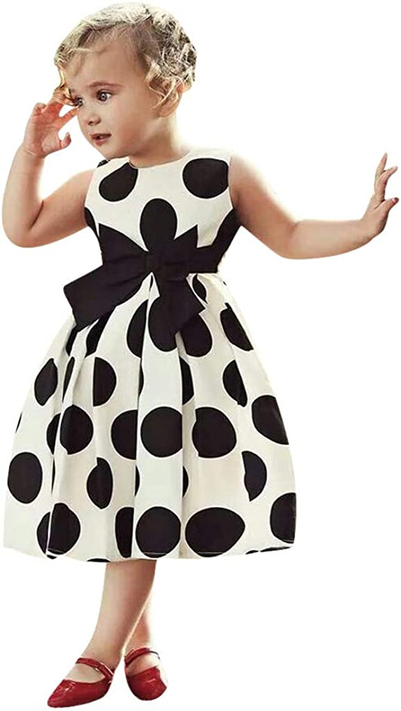 Sameno Kids Toddler Baby Girl Princess Dress Vintage Polka Dot Swing Rockabilly Party Dress for 1-6 Years Old