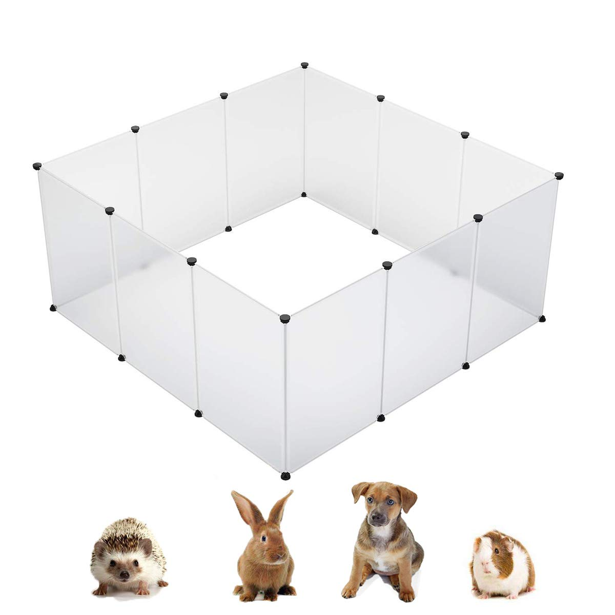 KOUSI Small Animal Pen Indoor Fence Animal Pen Plastic Fence Large Dog Pen Plastic Play Yard Plastic Dog Pen Rabbit Pen Small Pet Playpen, Large 59x59x27.6(in), Transparent by KOUSI