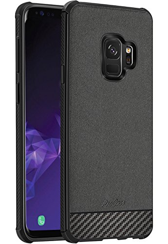 ProCase Samsung Galaxy S9 Case, Slim Hybrid Shockproof Protective Case Anti-Scratch Cushion Bumper with Reinforced Corners, Anti-Fingerprint Back Cover for 5.8 Inch Galaxy S9 2018 -Black