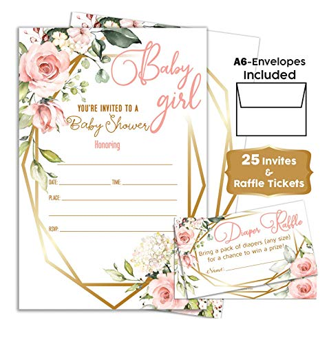 Pink Floral - Baby Shower Pink Invitations Girl with Envelopes and Diaper Raffle Tickets. Set of 25 Floral Fill in The Blank Style Invites with Envelopes - Floral Baby Shower Invitations Girl]()