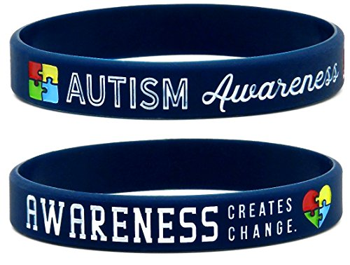 Inkstone Autism Awareness Bracelets, 6-pack - Silicone Wristbands in Adult Unisex Size -