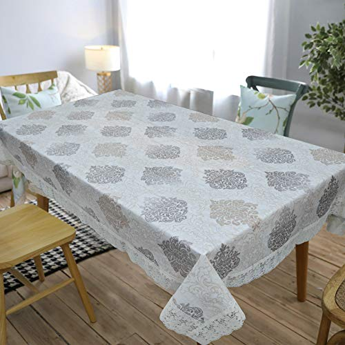 Oriental Weavers Decojewels PVC Dining Table Cover, 54″ X 78″, 6 Seater Rectangle Shape Table Cover with White Side Trim Lace (137 cm X 198 cm), Anti Bacterial Anti Fungal Oeko Tex-Standard-100