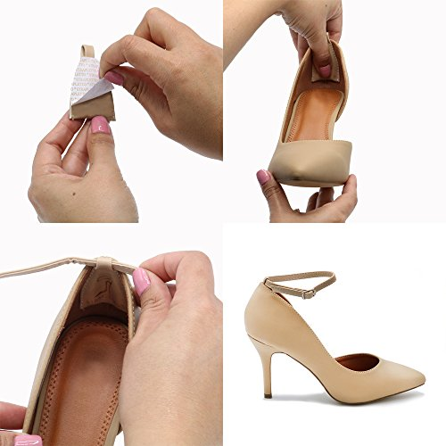 Attachable Anti Women's HeelLiner Nude Buckle Hold Slip Flats w Wedges Heels Straps ACS41xSqnw