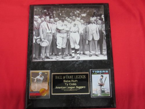 Babe Ruth Ty Cobb Hall of Fame 2 Card Collector Plaque w/8x10 RARE GROUP -