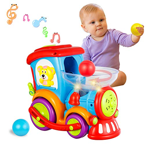 HISTOYE Toddler Toys Train for Boy Girl Age 1 2 3+, Baby Educational Drop and Go Toy Train with 3 Popper Ball, Music and Light Baby Toys for Preschool Learning, Developmental Toys for 1 2 3 Year Olds (Educational Train)