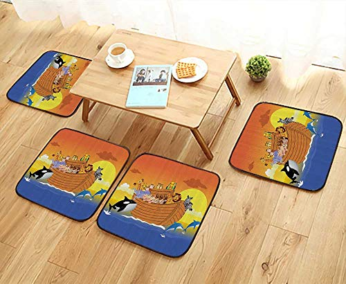 Printsonne Elastic Cushions Chairs Noahs Ark Boat with Mythical Creatures in The Sea with Whale and Dolphin for Living Rooms W29.5 x L29.5/4PCS Set