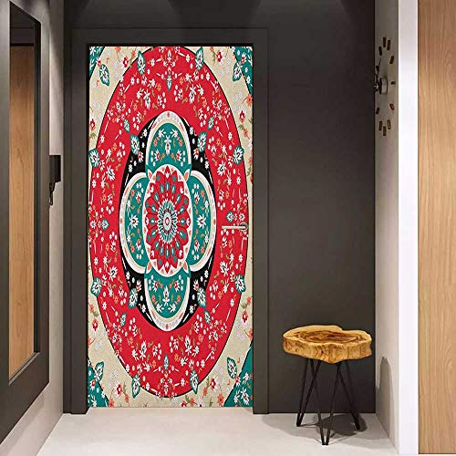 Pink Album Traditional - Toilet Door Sticker Turkish Pattern Circles with Little Pink Blossoms Traditional Floral Design Spring Inspired Glass Film for Home Office W35.4 x H78.7 Multicolor
