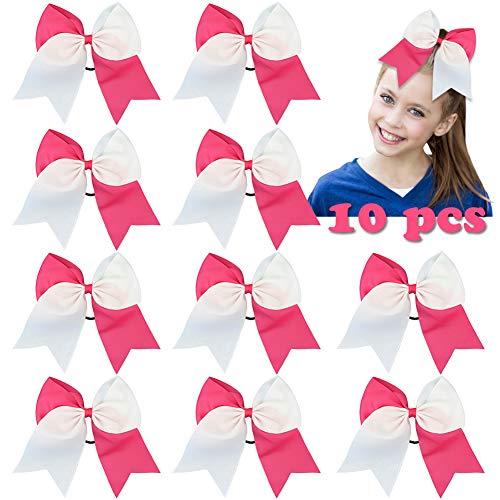HLIN 8 Large Hot Pink Cheer Bows Elastic Hair Tie Ponytail Holder Handmade for Teens Girls Softball Cheerleader Sports 10 PCS (White&Hot Pink)
