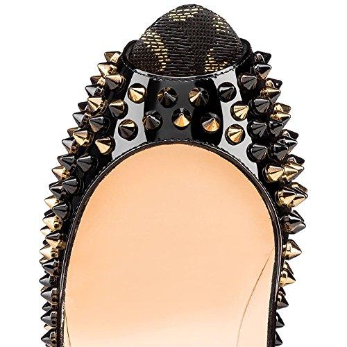 MERUMOTE - Zapatos de tacón de aguja mujer Black-Rivets
