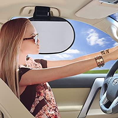 TFY Car Interior Roof Handle Sunshade Glare Reduction Plus Sun Protection for Front and Rear Side Windows - for Ford, Chevrolet, Buick, Audi, BMW, Honda, Mazda, Nissan and Others