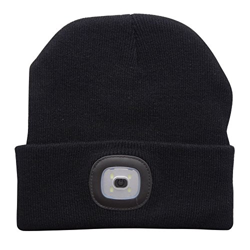 Your Supermart 4LED Knit Hat Rechargeable Hands Free Flashlight Cap Winter Warm Hunting Hat for Climbing Fishing Black