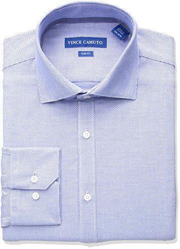 Vince Camuto Men's Slim Fit Diamond Dobby Dress Shirt, Cerulean, 15 34/35