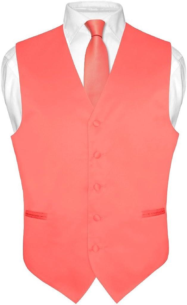 Los Hombres del Vestido Chaleco y Corbata sólido Coral Rosa Color ...