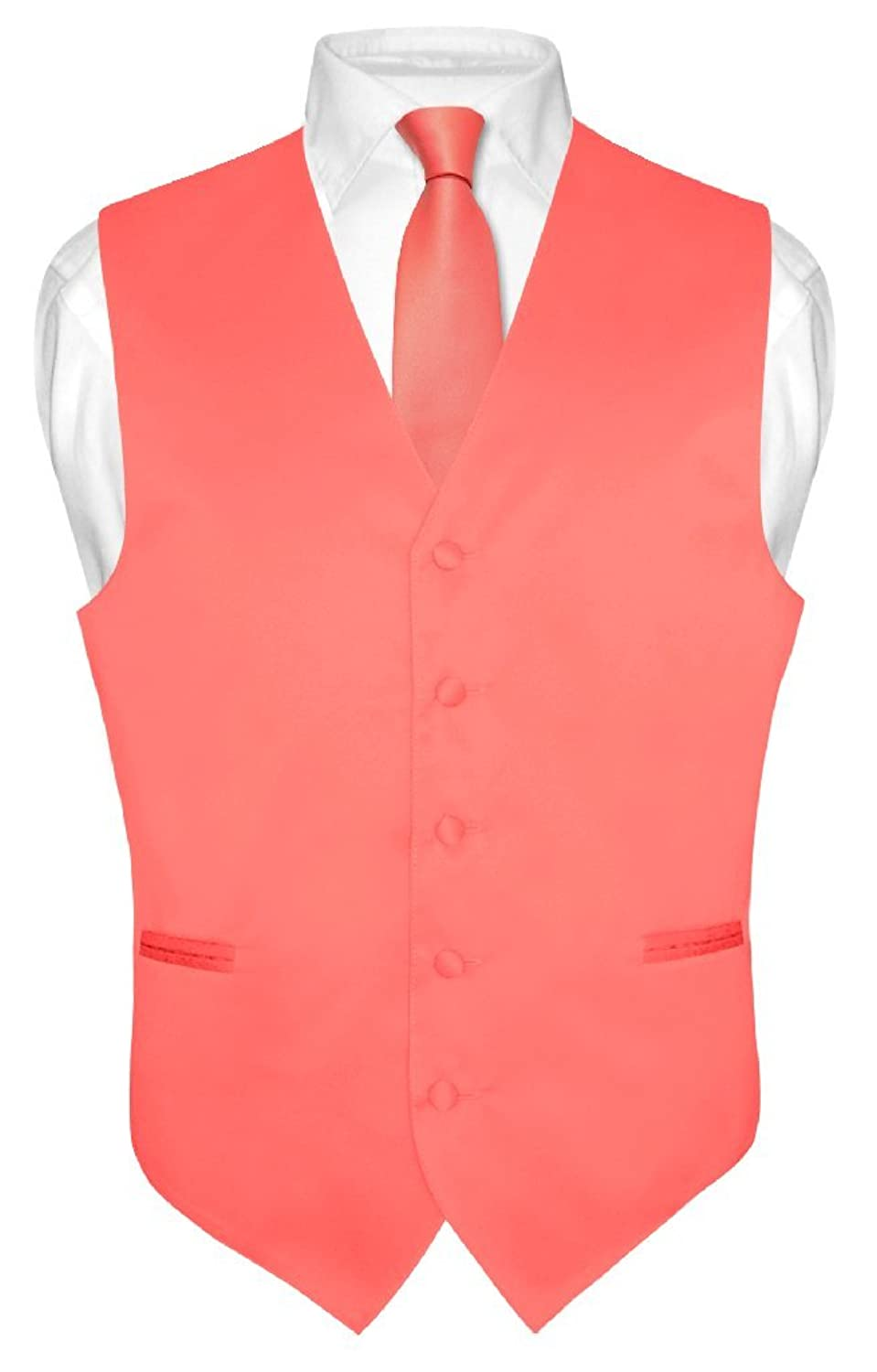 Men's Dress Vest & NeckTie Solid CORAL PINK Color Neck Tie Set for Suit ...