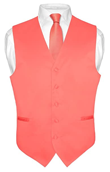 Mens Dress Vest & Necktie Solid Coral Pink Color Neck Tie Set for Suit or Tux